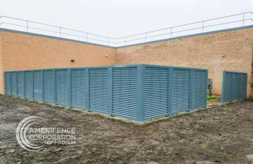 Madison fence company commercial fence contractors Wisconsin architectural mechanical screening screen louvered semi private private solid staggered board on board shadow box alternating ametco barnett and bates industrial louvers rooftop louvers beta orsogrill omega chillers generators truck wells outside storage condensors rooftop equipment patios trash dumpsters transformers HVAC courtyards pool equipment fence aluminum galvanized steel degree of openness direct visibility standalone wall louvers