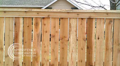 """AmeriFence Corporation of Madison, WI residential cedar western red cedar treated pine white red yellow CCA ACQ2 incense fir 2x4 1x6 2"""" x 4"""" 1"""" x 6"""" nails stain solid privacy picket scalloped board on board shadow box pickets rails posts installation panels post caps modern horizontal backyard front yard ranch gate garden diy split rail house lattice old rustic vertical metal post picket dog ear contemporary custom"""