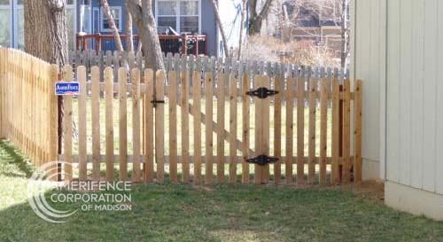 """Madison fence company Wisconsin fence contractors Madison wood fencing cedar western red cedar treated pine white red yellow CCA ACQ2 incense fir 2x4 1x6 2"""" x 4"""" 1"""" x 6"""" nails stain solid privacy picket scalloped board on board shadow box pickets rails posts installation panels post caps modern horizontal backyard front yard ranch gate garden diy split rail house lattice old rustic vertical metal post picket dog ear contemporary custom"""