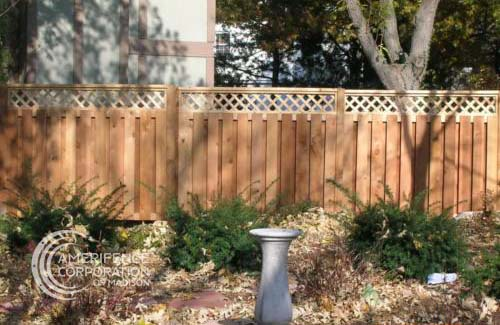 """Fence company Madison, Wisconsin residential fence contractors Madison cedar western red cedar treated pine white red yellow CCA ACQ2 incense fir 2x4 1x6 2"""" x 4"""" 1"""" x 6"""" nails stain solid privacy picket scalloped board on board shadow box pickets rails posts installation panels post caps modern horizontal backyard front yard ranch gate garden diy split rail house lattice old rustic vertical metal post picket dog ear contemporary custom"""